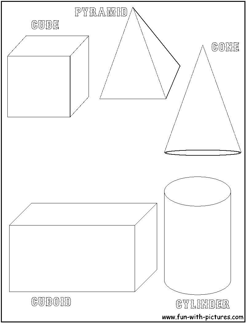 three dimensional shapes coloring pages - photo#1