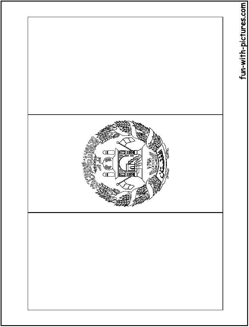 Afghanistan Flag  Coloring Page