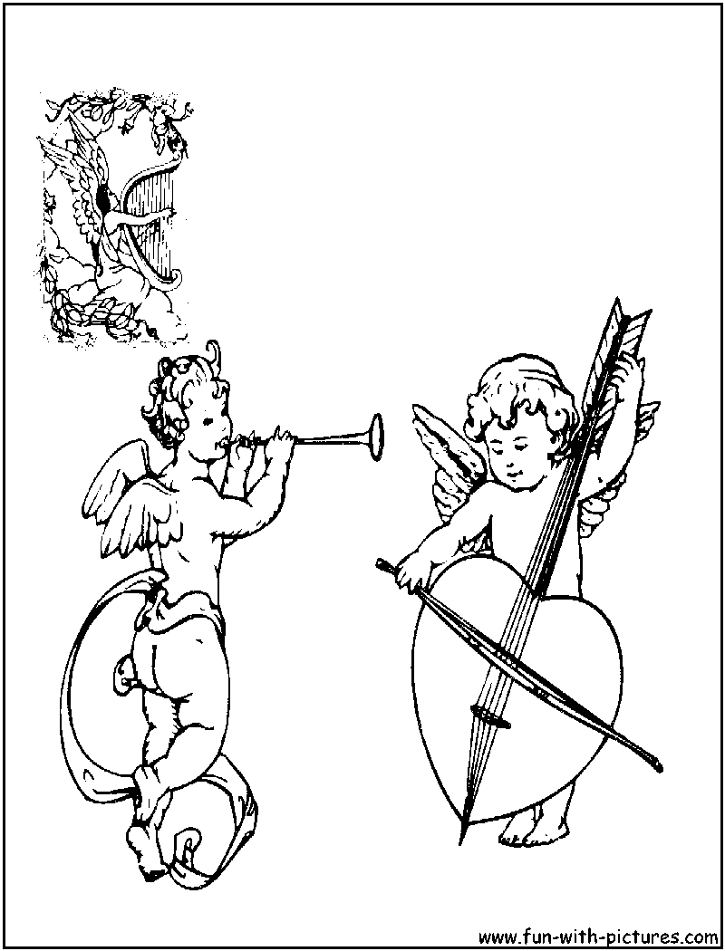 Angels orchestra coloring page for Orchestra coloring pages