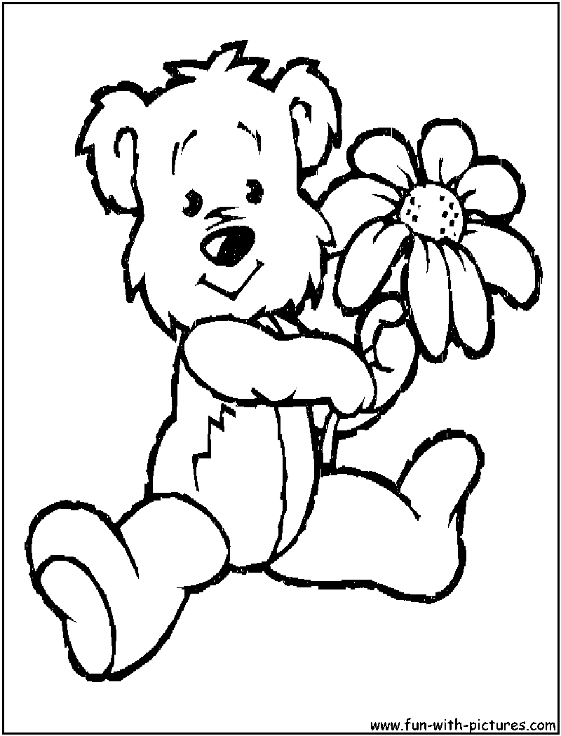 Free Teddy Bear Holding Flower Coloring Pages