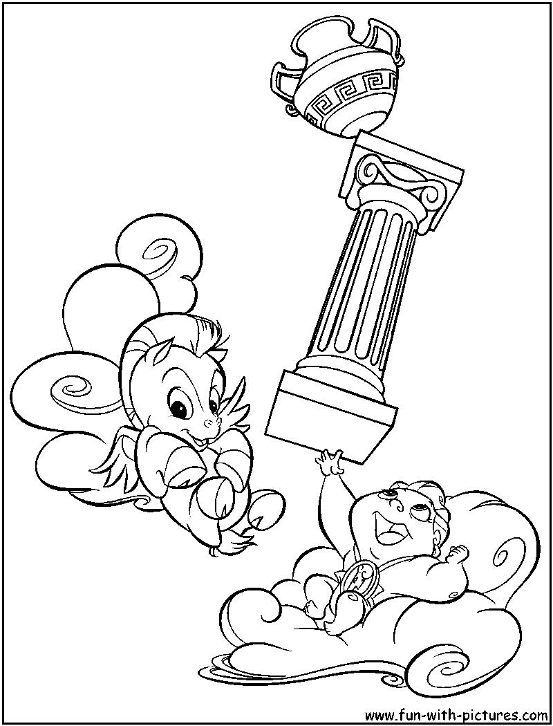 babyhercules babypegasus coloring page hercules meg coloring page