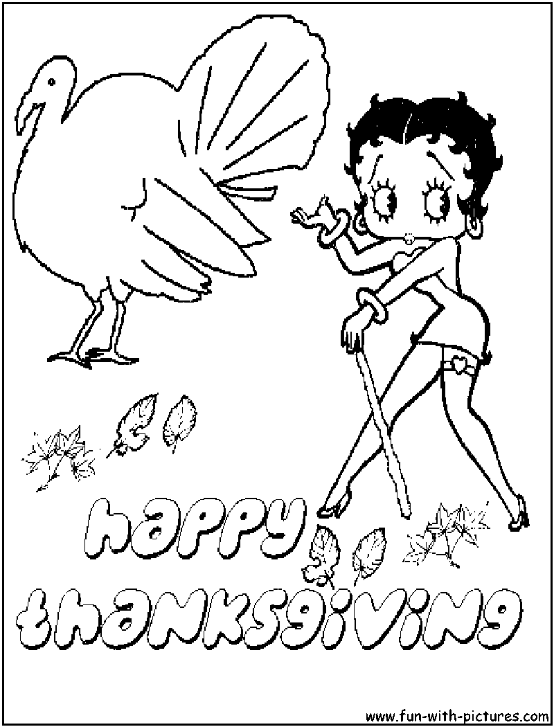 Free betty boop coloring pages to print - Bettyboop Thanksgiving Coloring Page