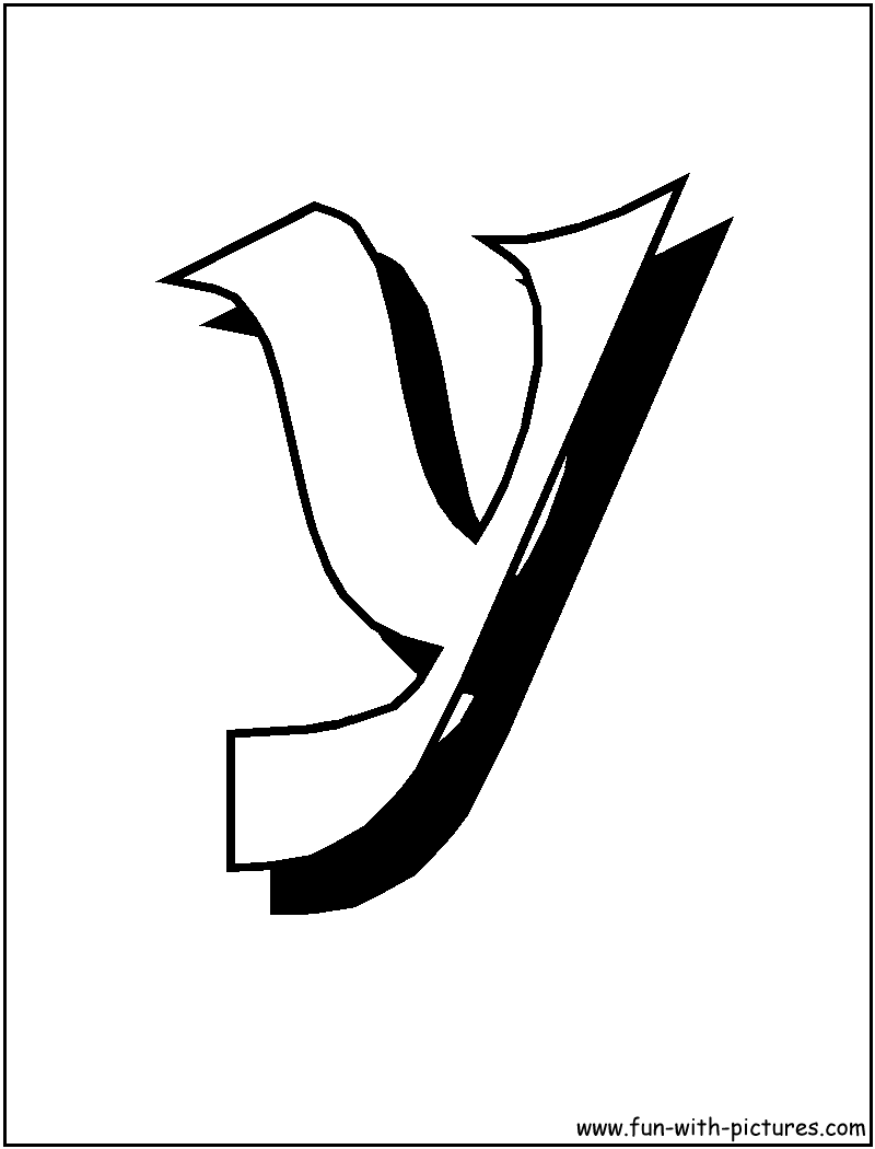 Blockletter Y Coloring Page