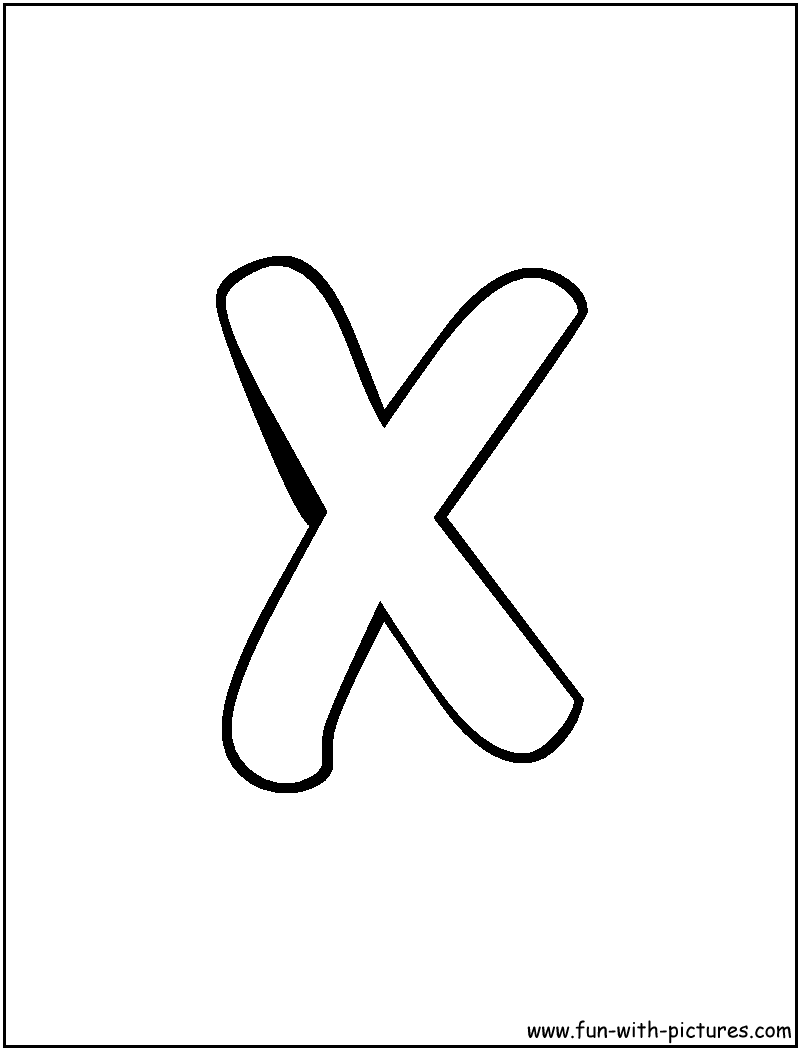 x colouring sheets : Bubble Letter X Coloring Page