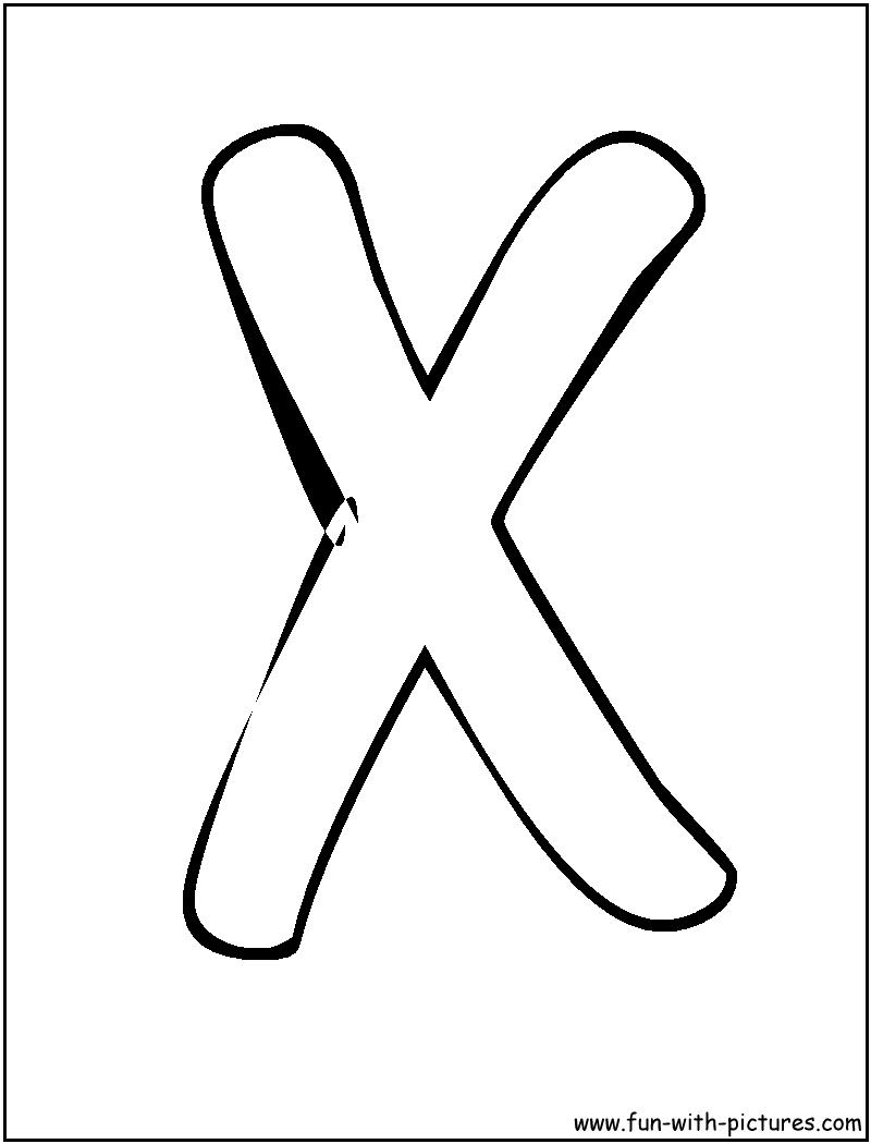 Bubble Letters X Coloring Page