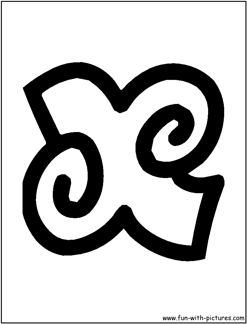 X Bubble Letter Free coloring pages