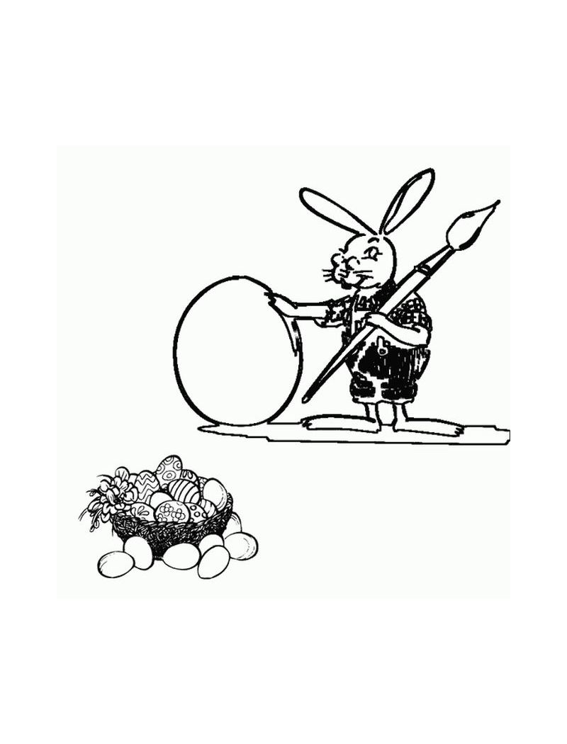 Coloring Page of Easter Bunnies-Bunny painting easter egg