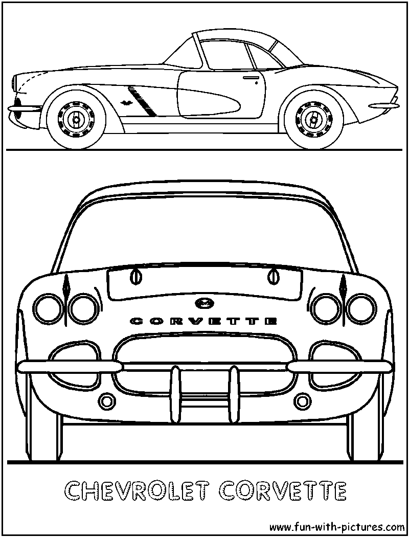Corvette coloring page of chevrolet car for Corvette car coloring pages