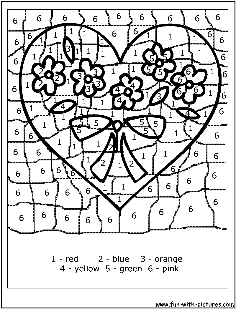 valentine coloring pages by numbers - photo #3