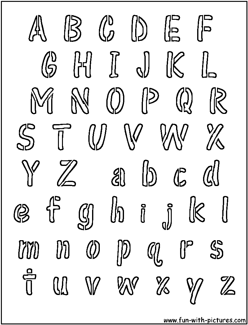 Alphabet Stencil Coloring Pages : Coloring book font how to draw bubble letters learn