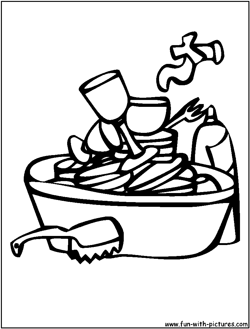 Colouring pages kitchen - Dishes Coloring Page