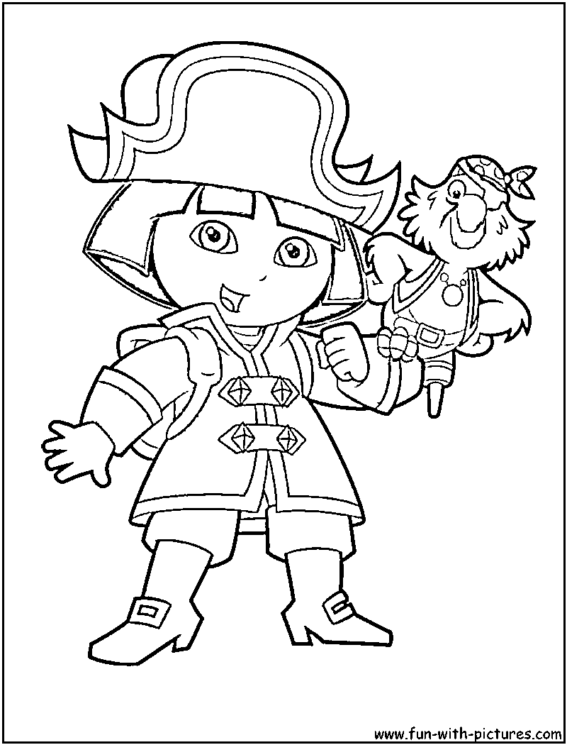Dora The Pirate Coloring Page
