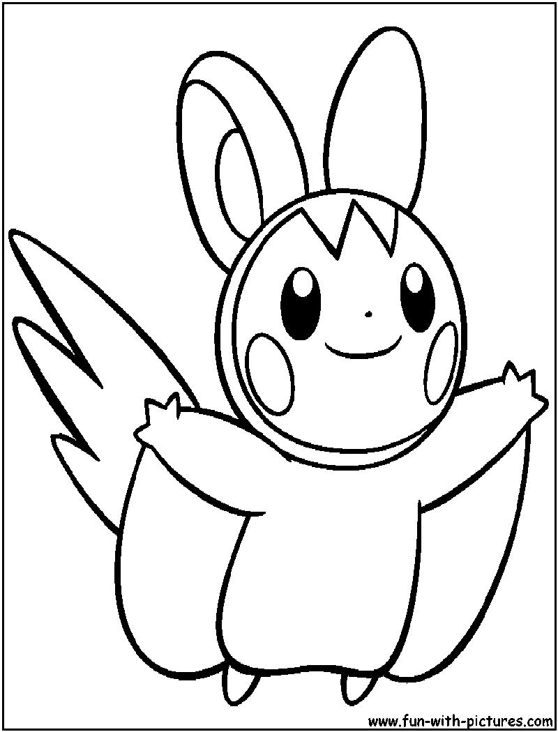 Pokemon coloring pages emolga - Emolga Coloring Page