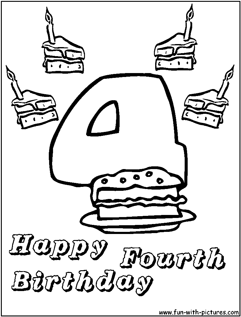 happy 4th birthday coloring pages - photo#4