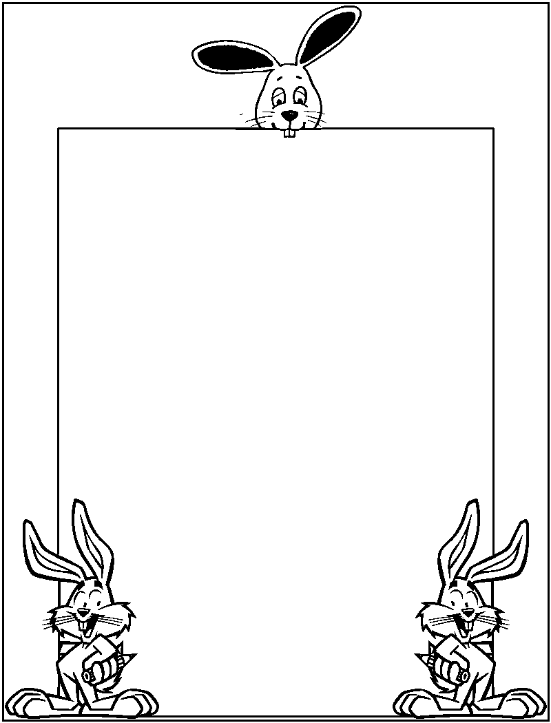 Easter Egghunt Border Coloring Page