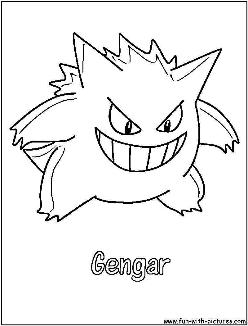 gastly haunter and gengar pokemon coloring pages | Gengar Coloring Page