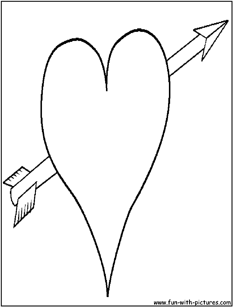 Heart Arrow Coloring Page