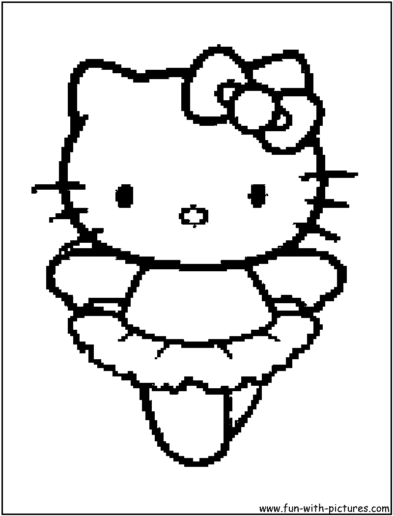 Hellokitty Ballerina Coloring Page