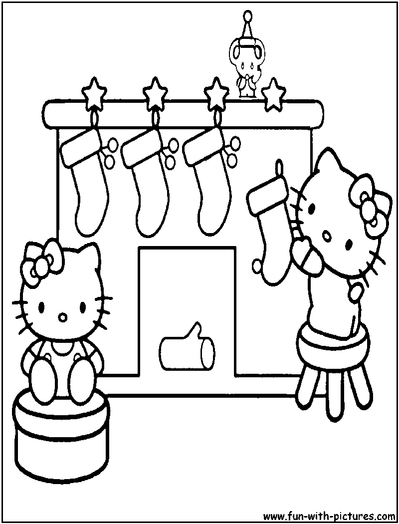 Coloring Pictures Of Hello Kitty At Christmas : Hellokitty christmas coloring page