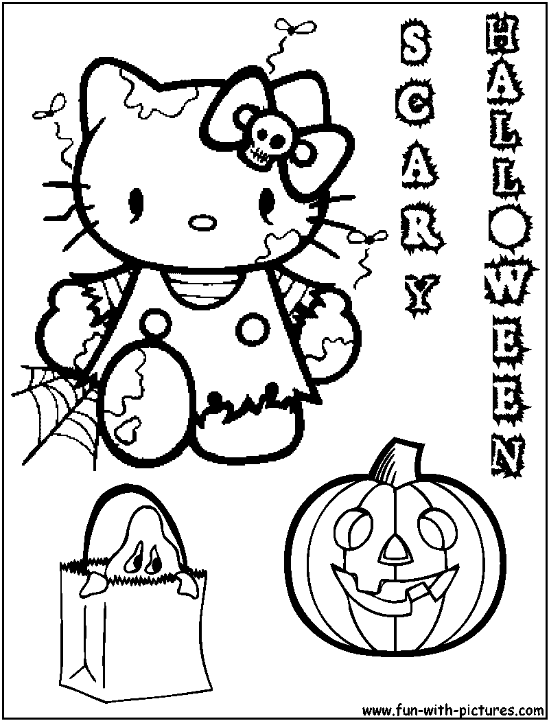 Hellokitty halloween coloring page for Hello kitty coloring pages halloween