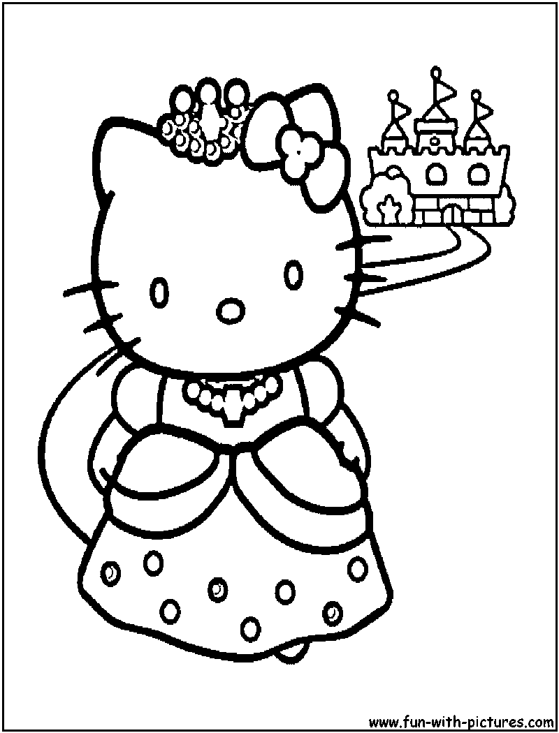Free Hello Kitty Princess Coloring Pages