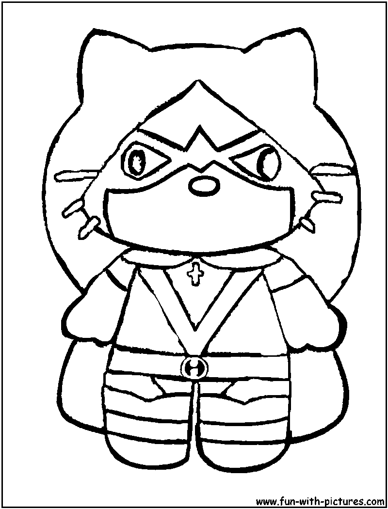 Hellokitty Spidergirl Coloring Page