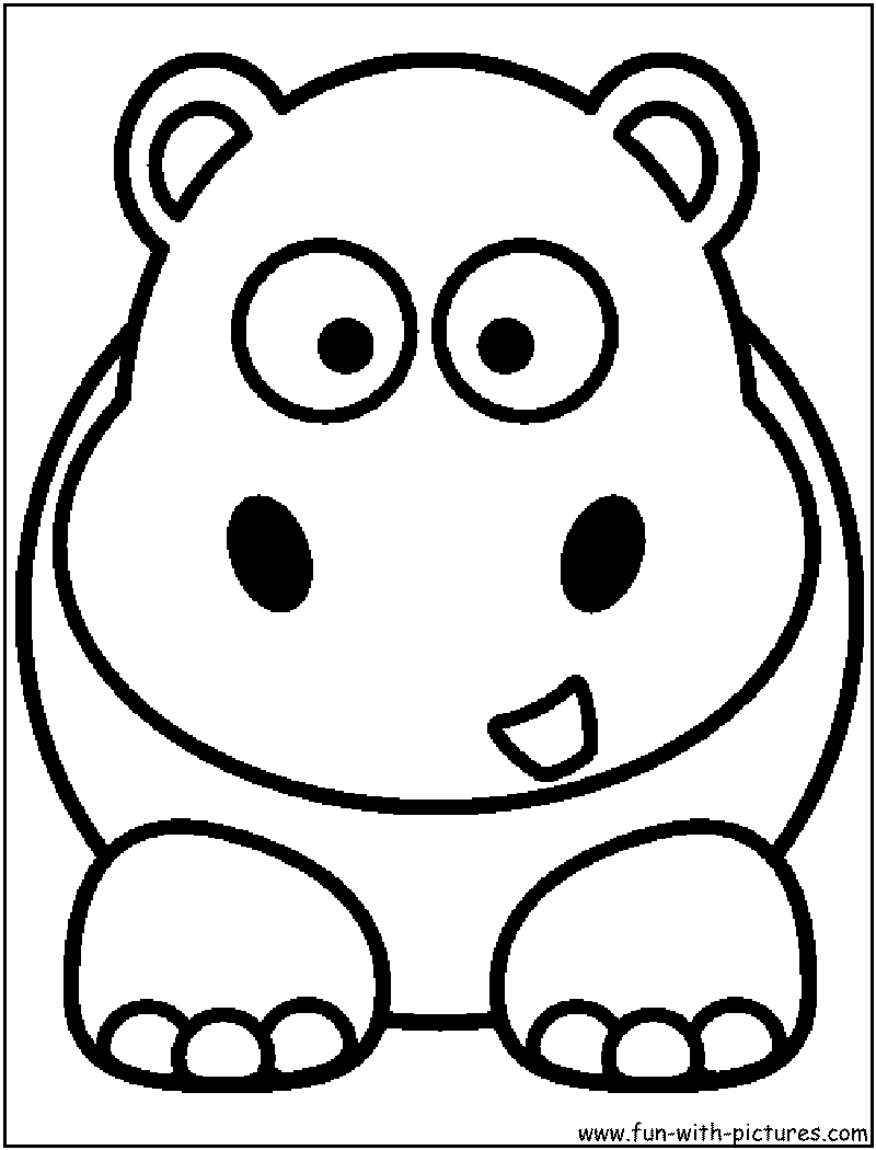 Hippo face coloring page coloring pages for Baby hippo coloring pages
