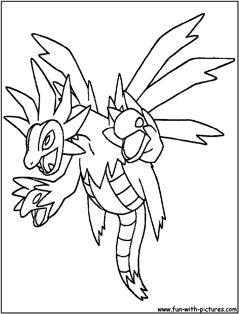 Pokemon coloring pages hydreigon - Hydreigon Coloring Page