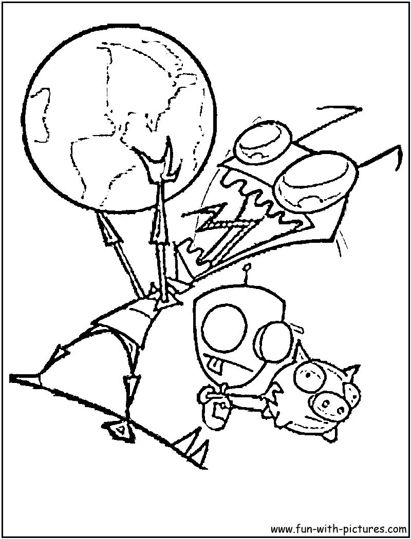 gir and piggy coloring pages - photo#10