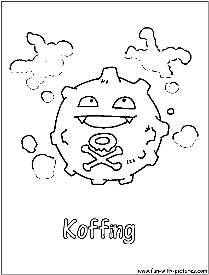 Pokemon koffing coloring pages - Koffing Coloring Page