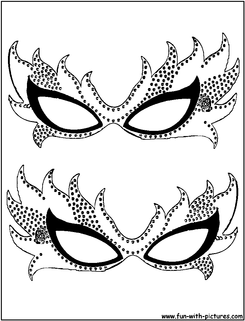 Mardi gras masks coloring page