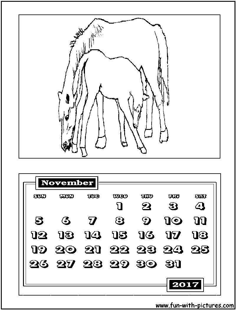 november calendar coloring page