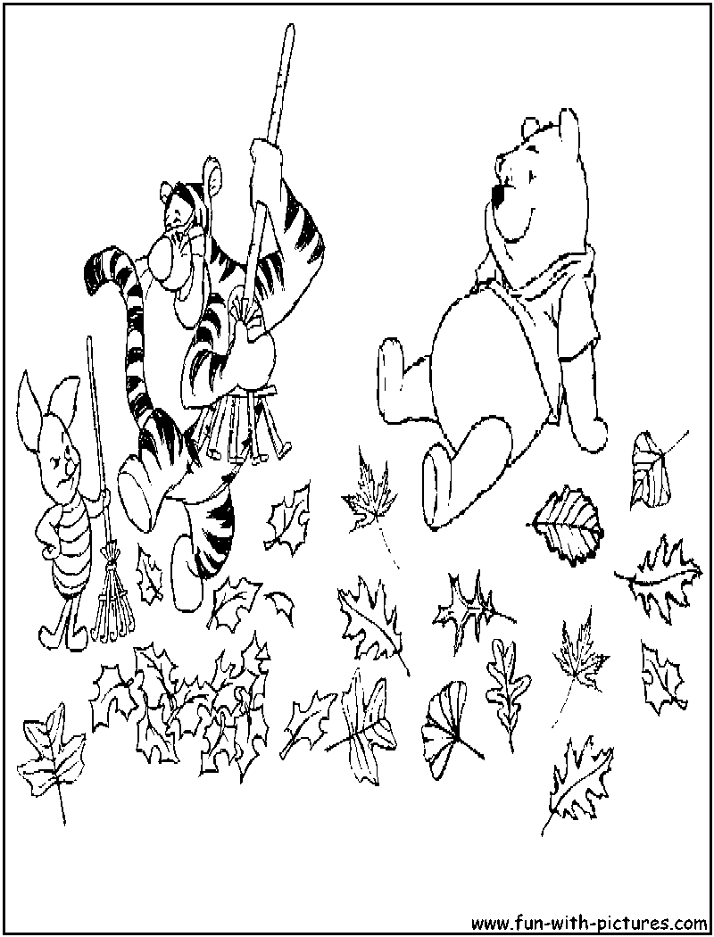Pooh Friends Fall Coloring Page