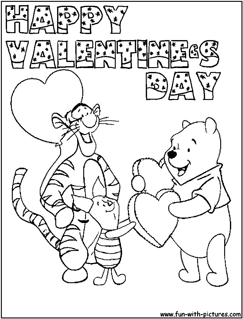 Valentine 39 s day coloring pages debt free spending for Winnie the pooh valentine coloring pages