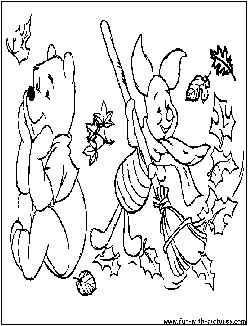 Poohbear Fall Coloring Page