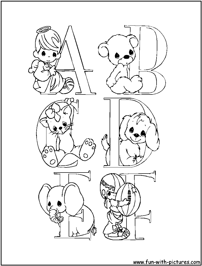 Alphabets Preciousmoments Coloring Pages Free Printable Colouring