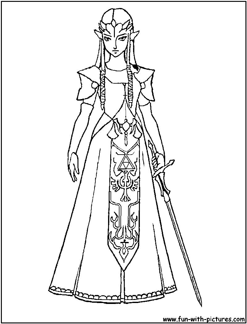 Princess Zelda Coloring Pages : Princess zelda coloring page