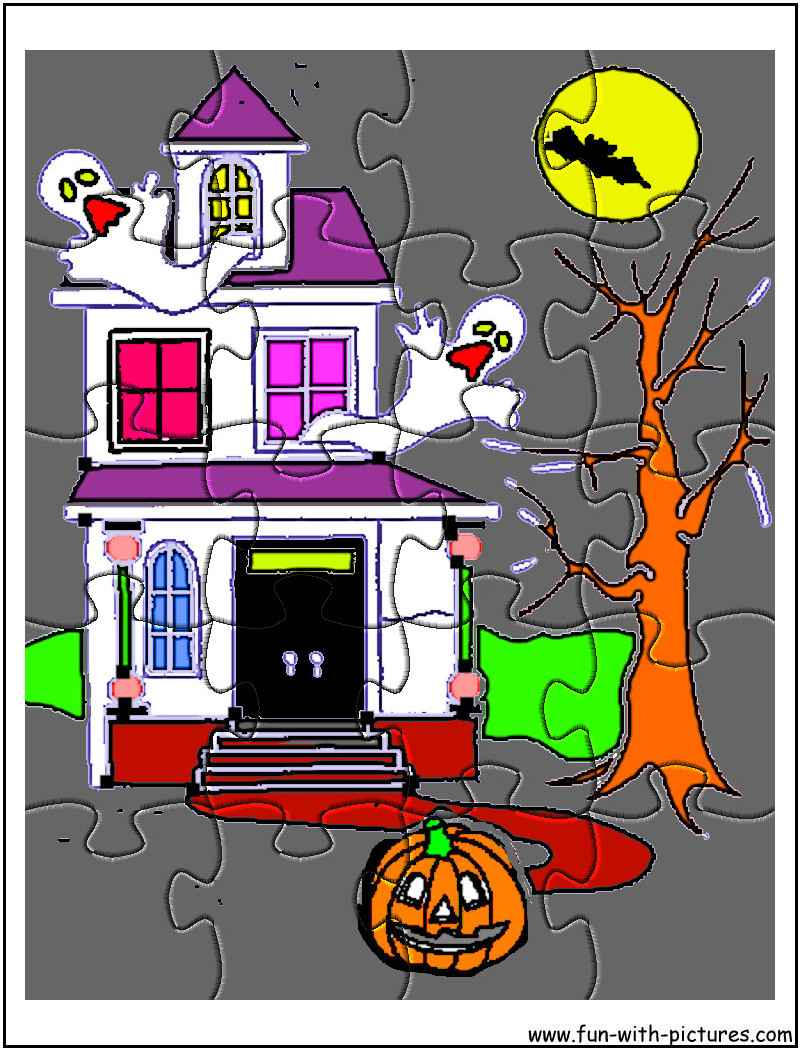 Printable Halloween Hauntedhouse Jigsaw