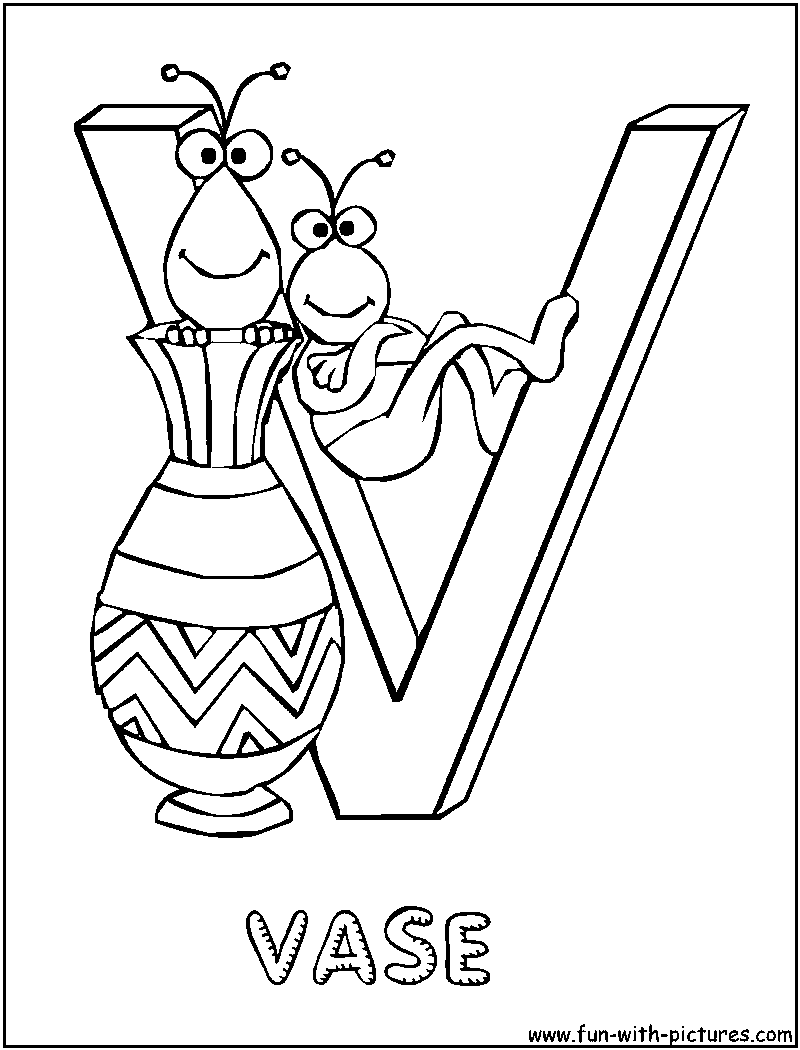 v is for vase coloring pages - photo #4