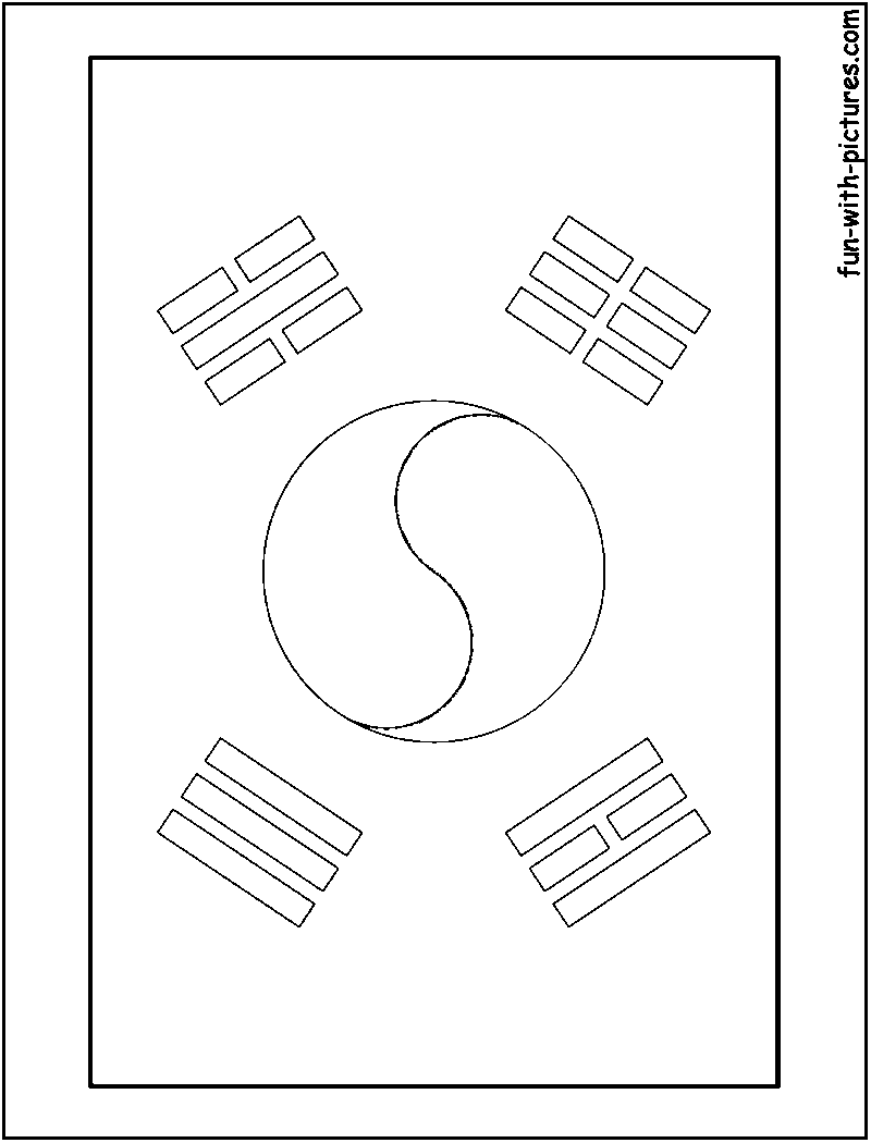 South Korea Flag Free Colouring Pages South Korea Coloring Pages