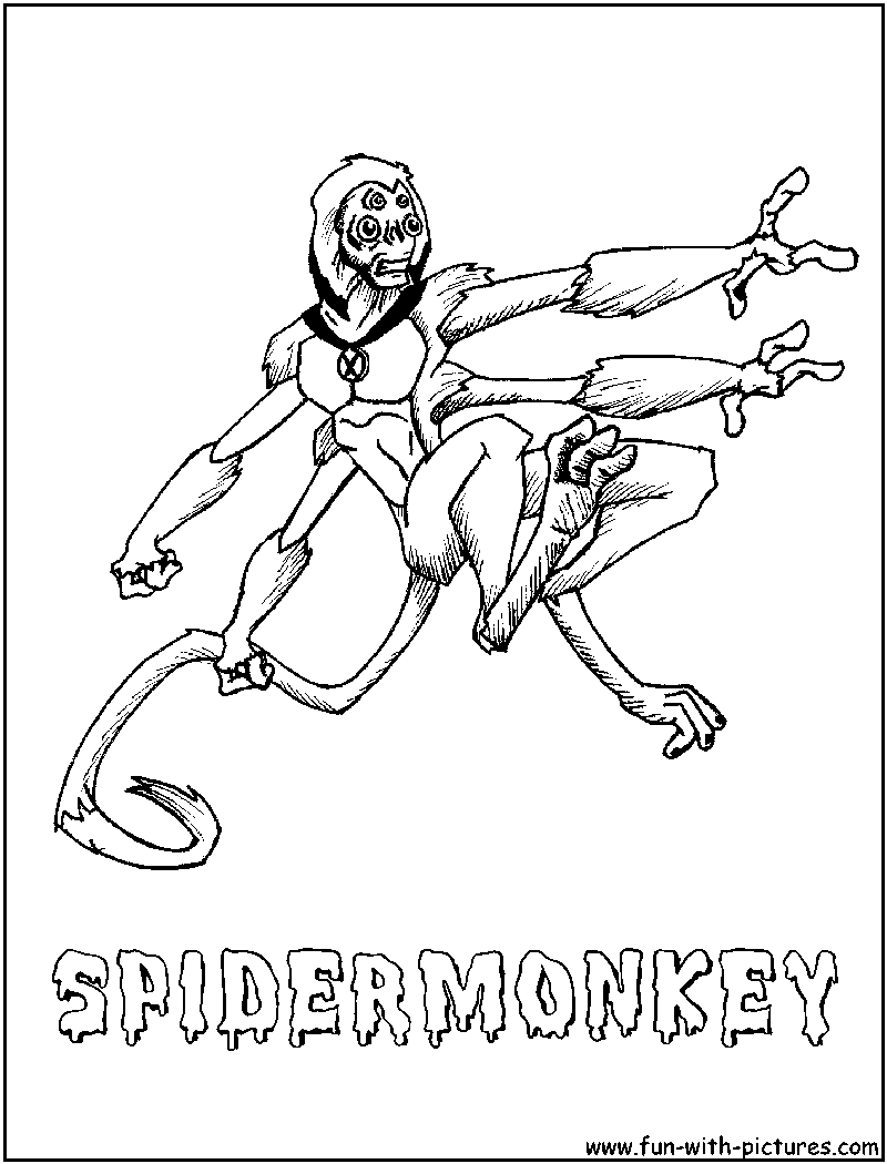 Spidermonkey coloring page for Spider monkey coloring page
