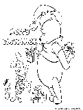 Winnie Piglet Xmas Coloring Page