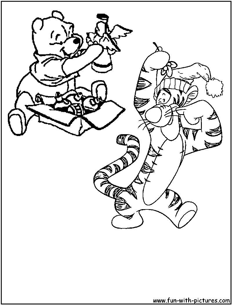 Tigger Pooh Christmas Coloring Page