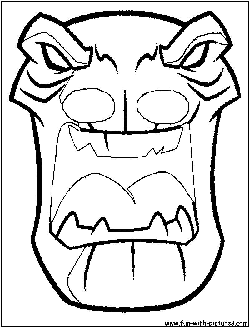 Tiki Mask Coloring Page