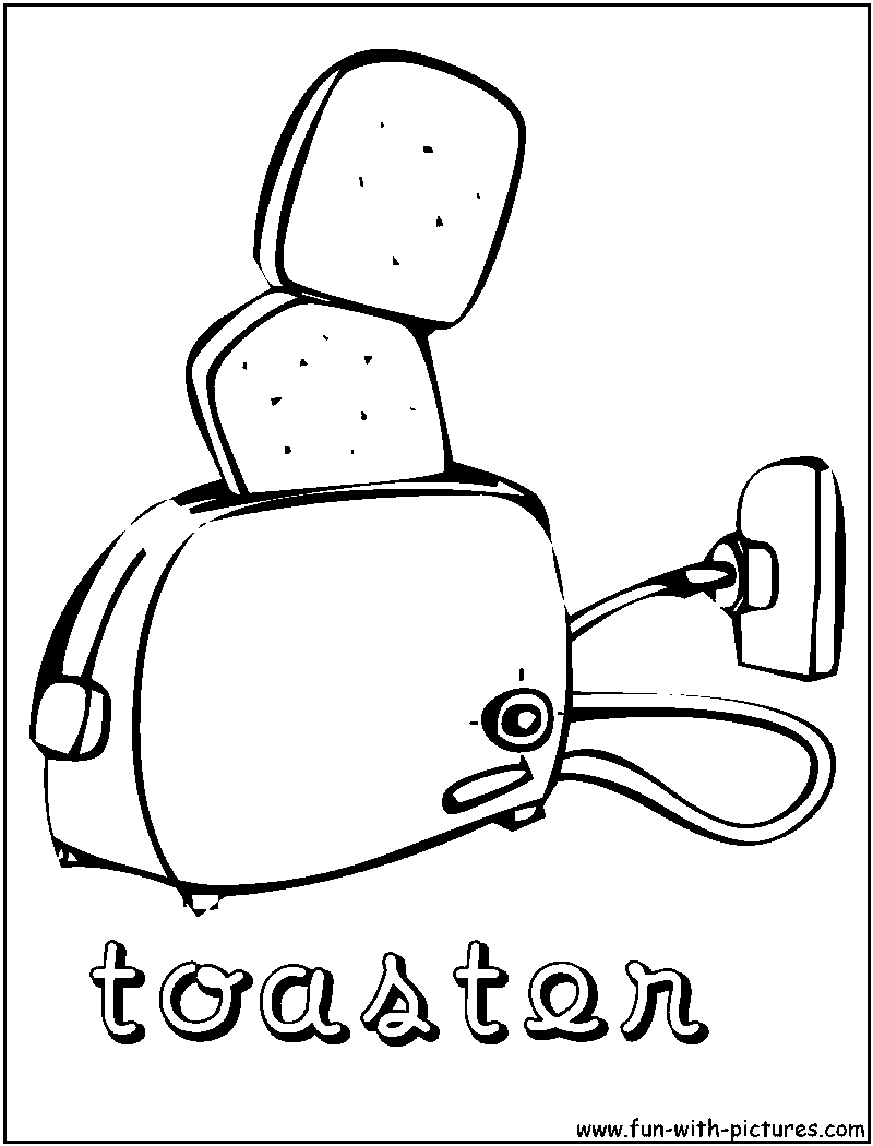 Colouring pages kitchen - Toaster Coloring Page