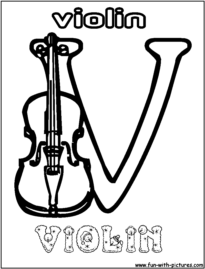 V violin coloring page for Violin coloring pages