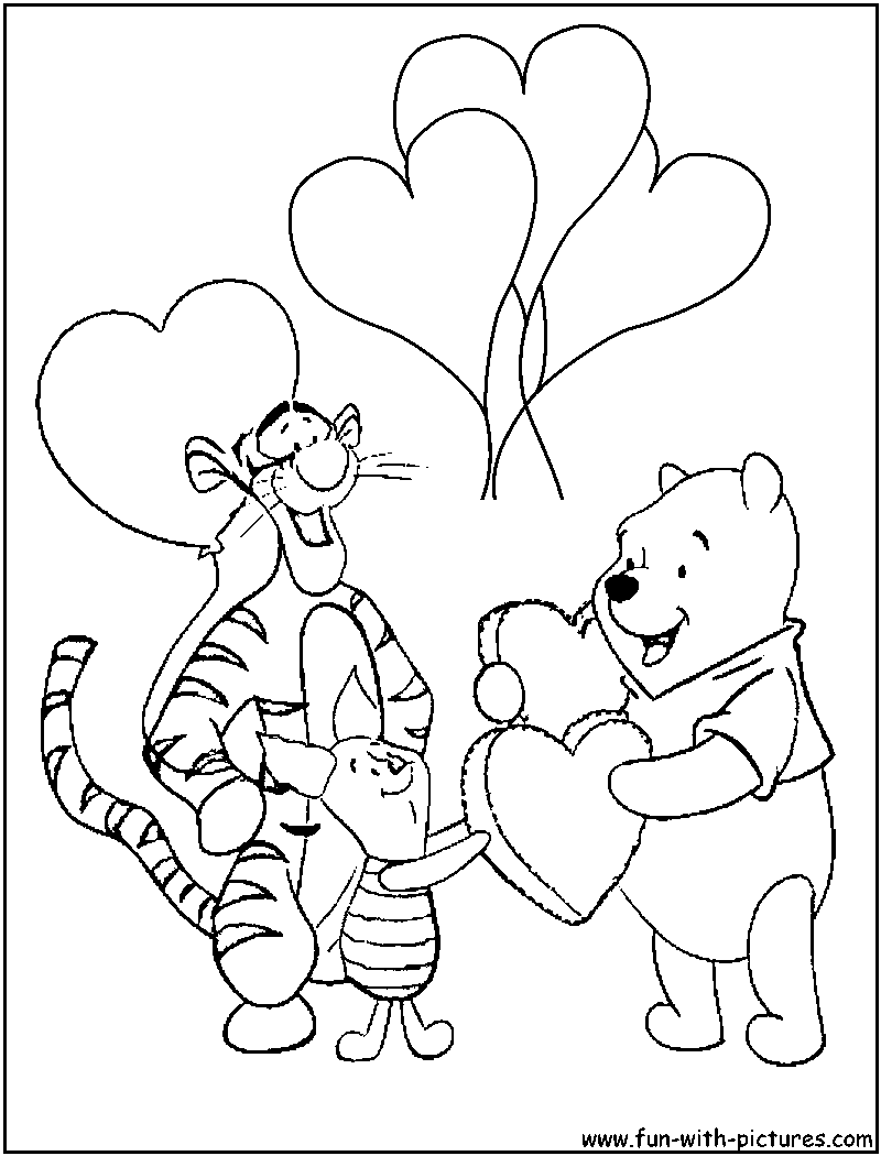 Winnie valentine coloring page of the pooh and friends for Winnie the pooh and friends coloring pages