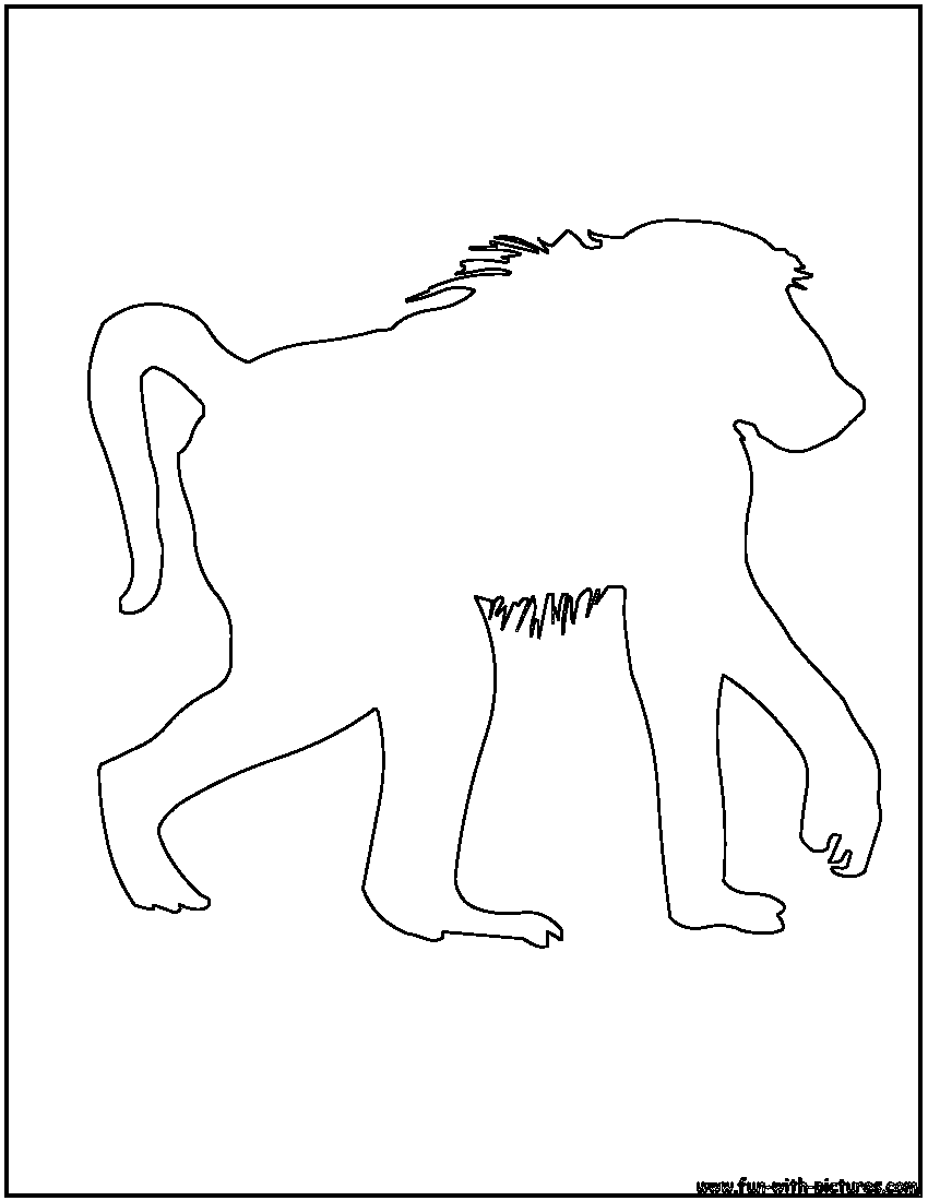 Baboon Outline Coloring Page