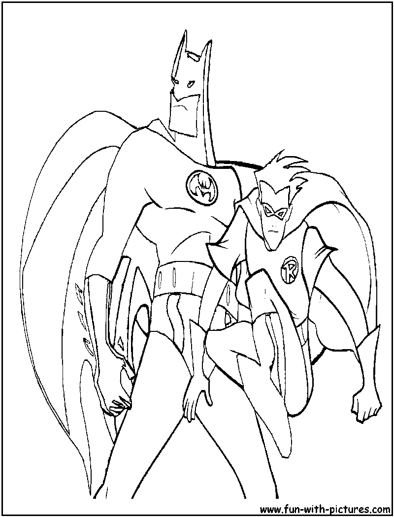 It is an image of Striking batman and robin coloring pages