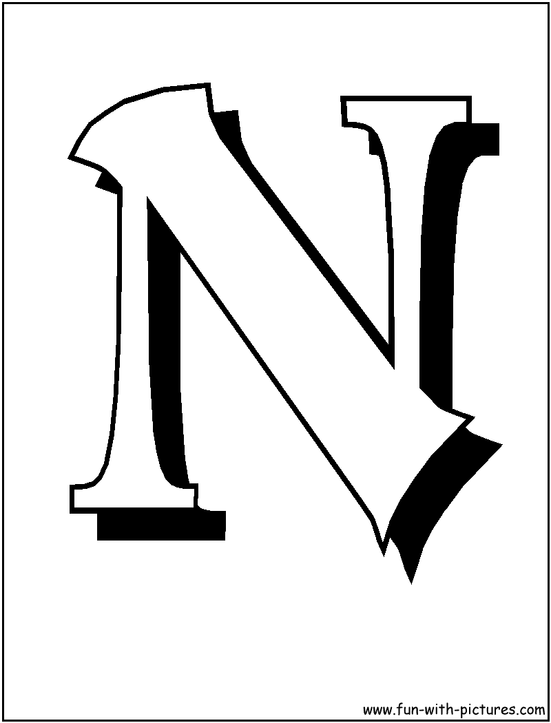 Blockletters N Coloring Page